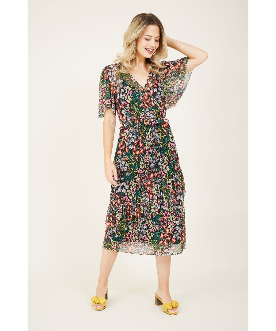 Image for Butterfly Print Mesh Frill Dress