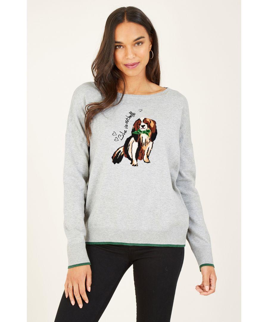 Image for Yumi Grey Marl Knitted Intarsia Dog Jumper