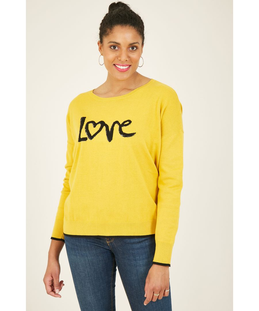 Image for Yumi Mustard Knitted Love Jumper