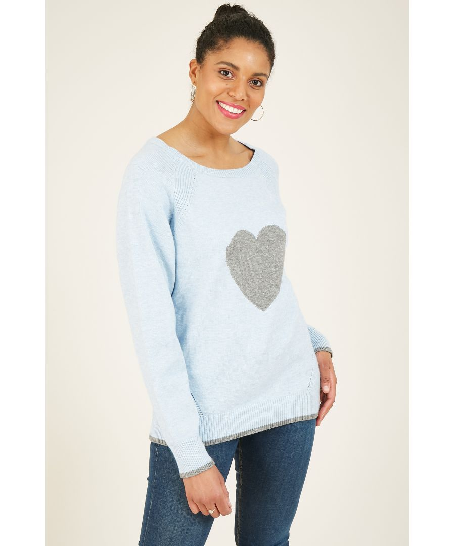 Image for Yumi Blue Knitted Heart Jumper