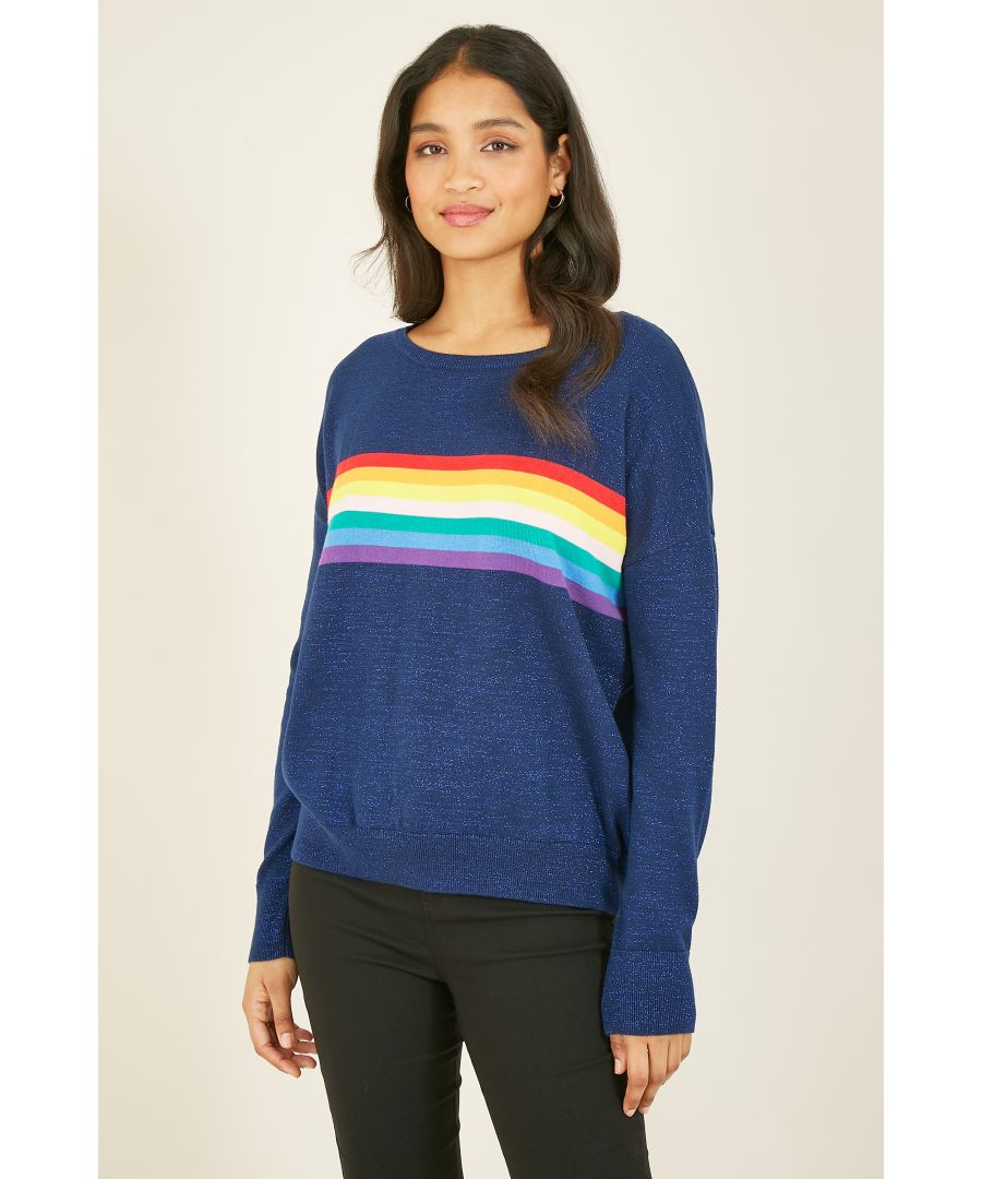 Image for YUMI Rainbow Stripe Relaxed Jumper