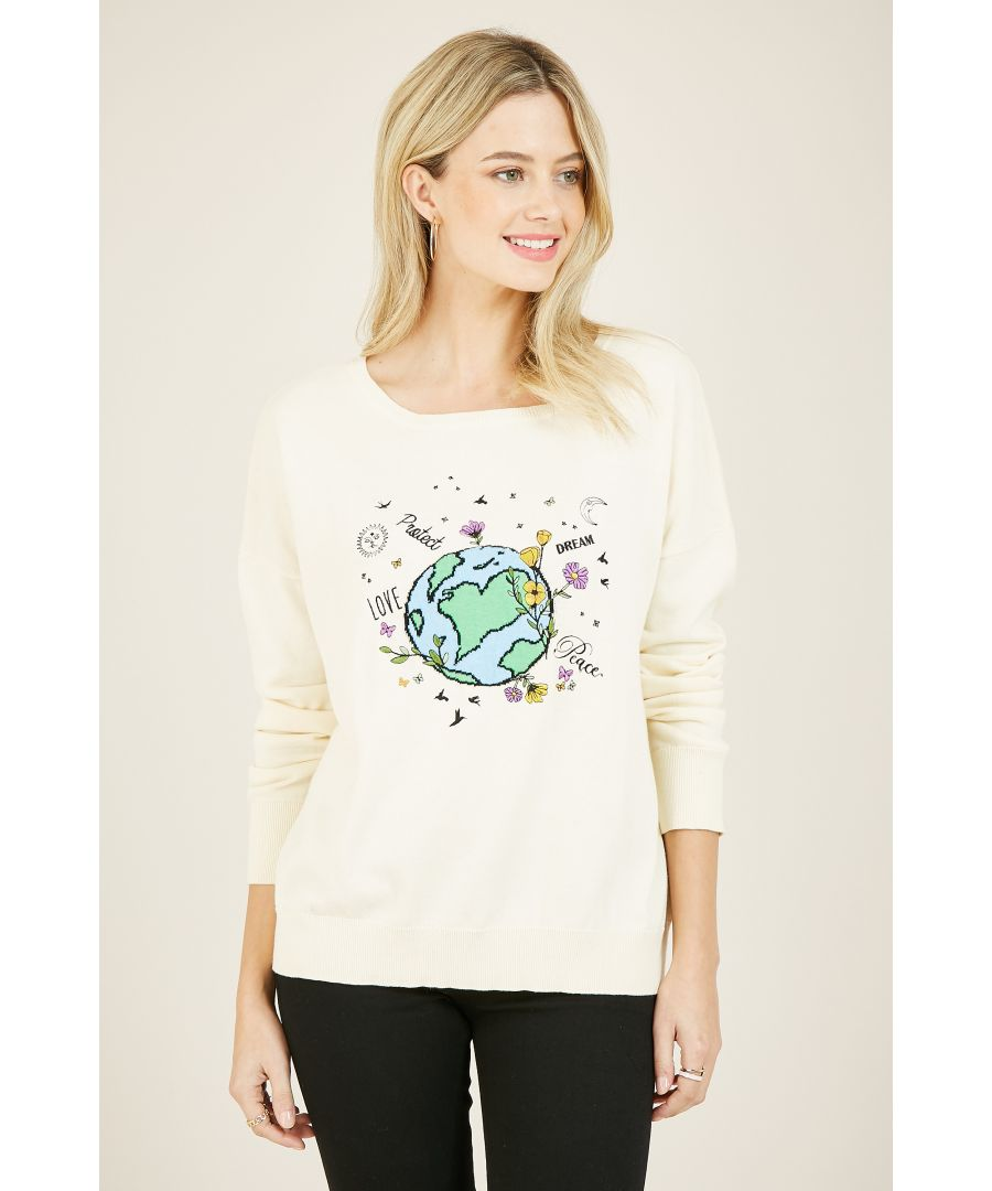 Image for Yumi Cream Knitted World Peace Jumper