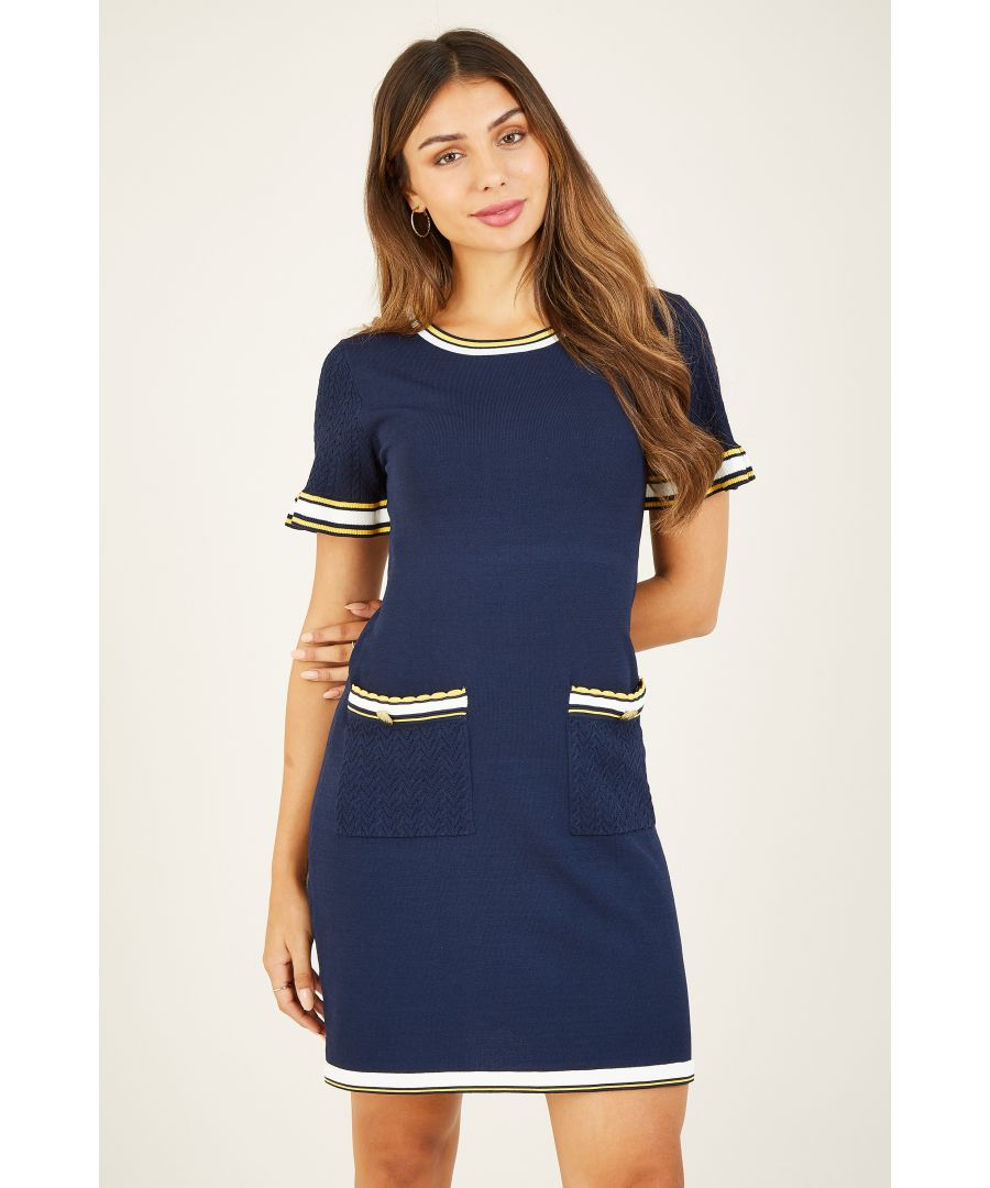 Image for Yumi Navy Knitted Tunic With Fluted Sleeves