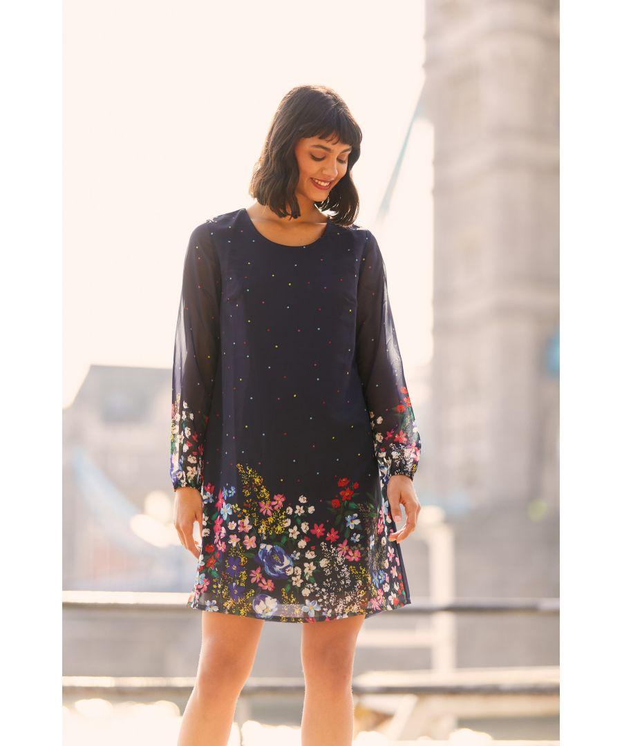 Image for Yumi Navy Floral Border Hem Tunic