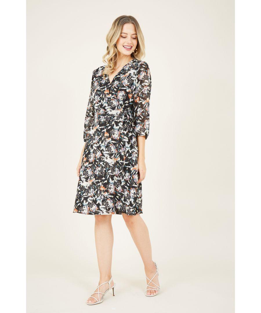 Image for Black Lurex Floral Wrap Dress