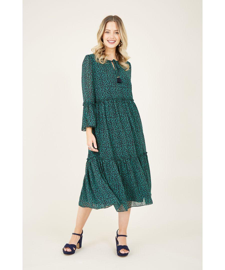 Image for Green Ditsy Print Smocked Midi Dress