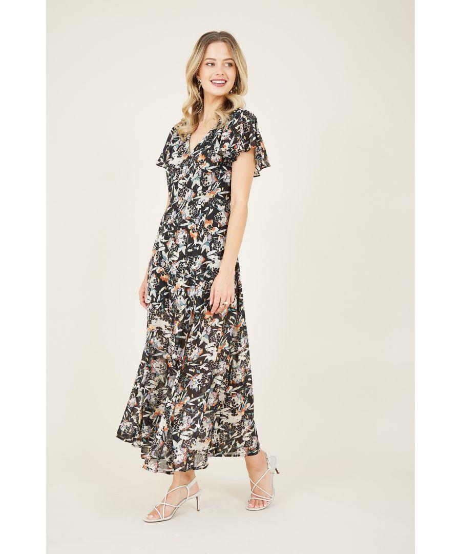 Image for Black Lurex Floral Midi Dress