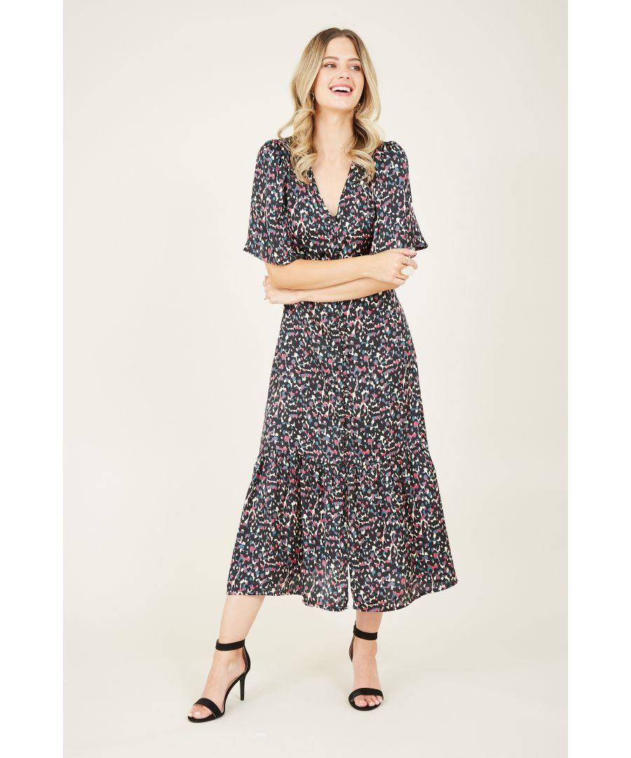 Image for Yumi Black Animal Print Button Midi Shirt Dress