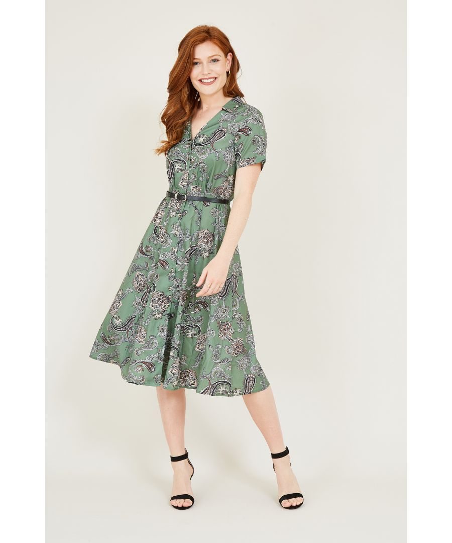 Image for Yumi Green Paisley Shirt Dress With Belt