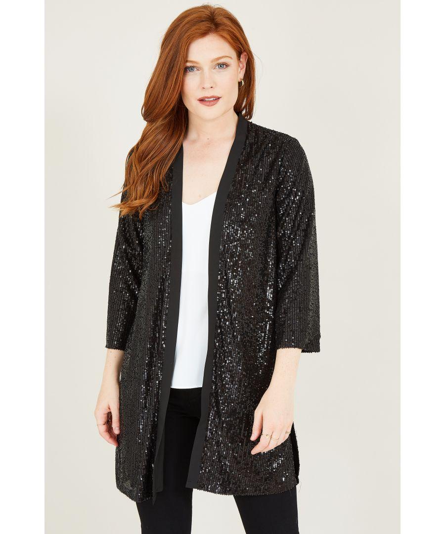 Image for Yumi Black Sequin Kimono