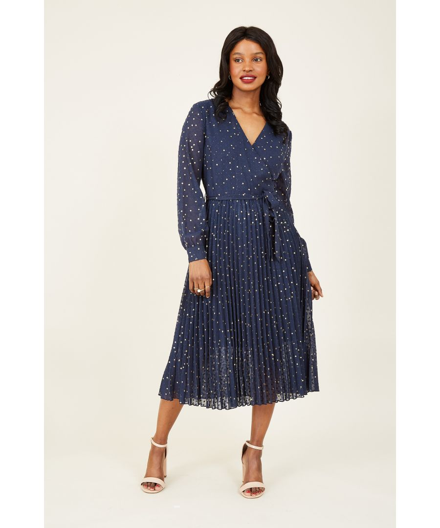 Image for Yumi Navy Foil Print Wrap Dress With Pleated