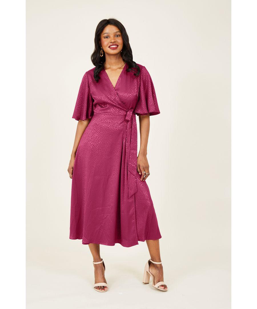 Image for Yumi Fuchsia Wrap Midi Dress