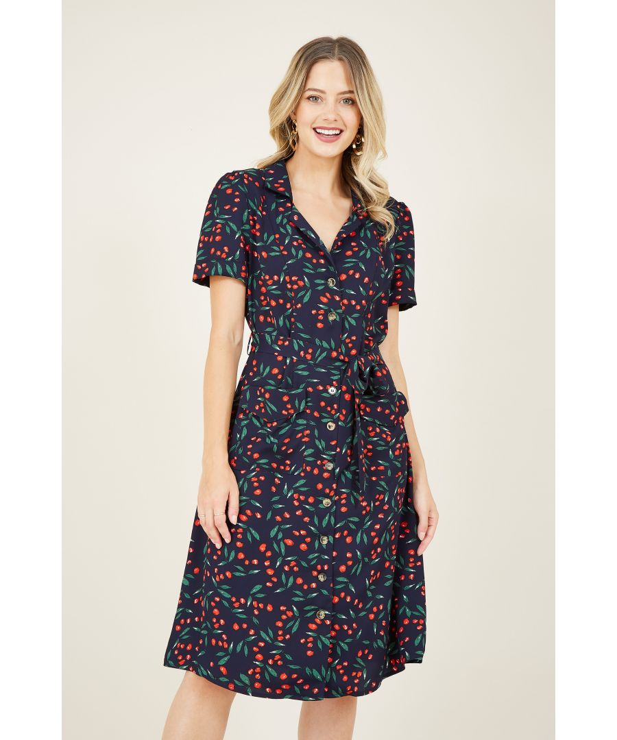 Image for Navy Cherry Retro Shirt Dress