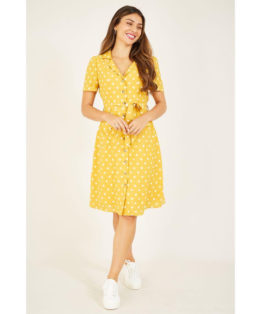 Image for YUMI Mustard Retro Shirt Dress
