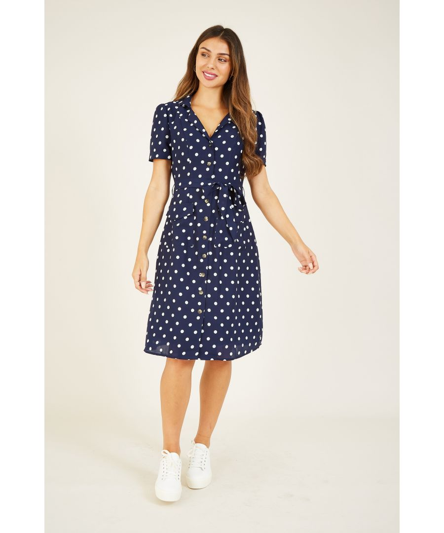 Image for Yumi Navy Retro Shirt Dress
