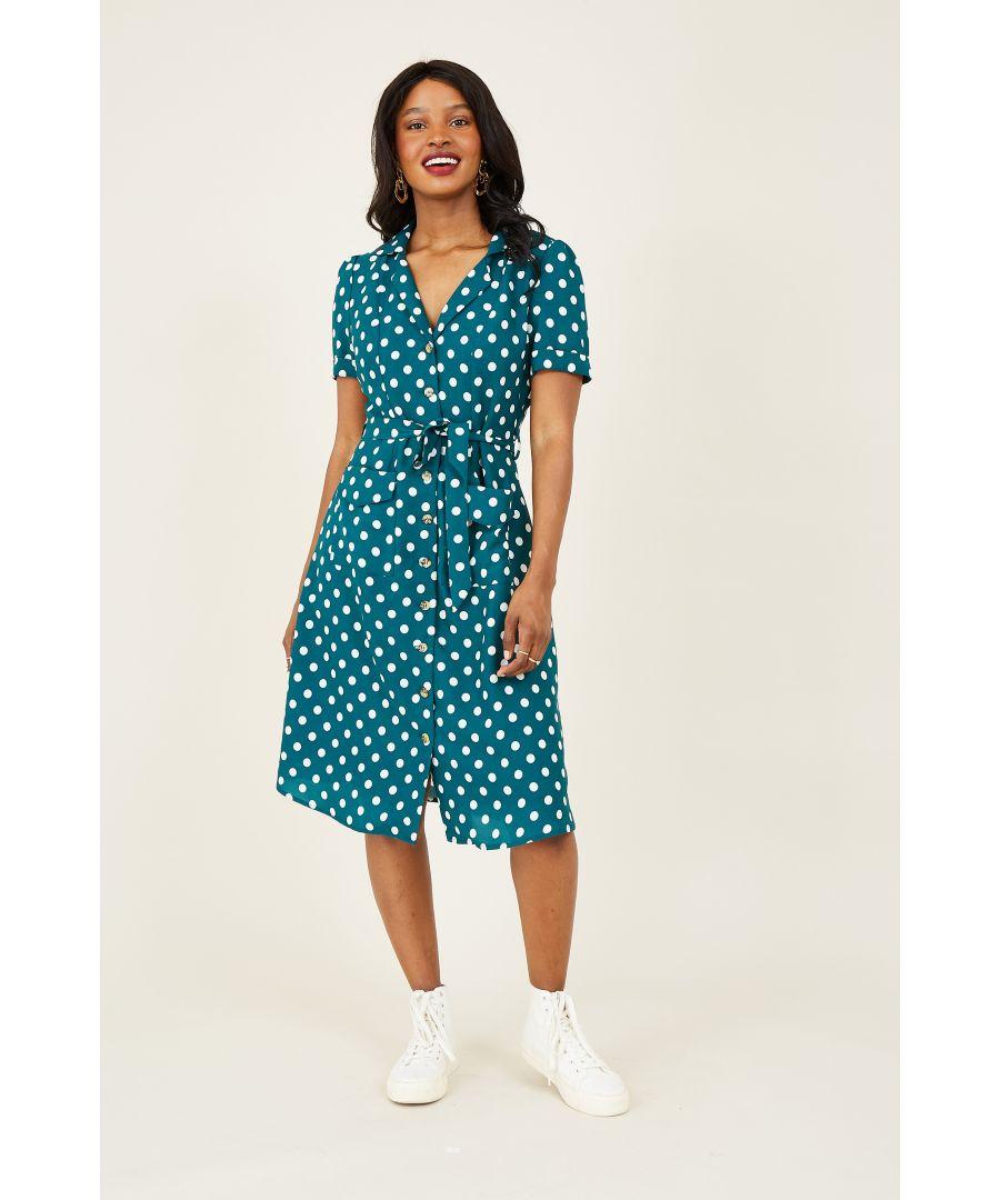 Image for Yumi Green Spot Retro Shirt Dress