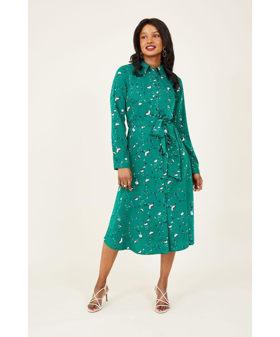 Image for Yumi Green Ditsy Midi Shirt Dress
