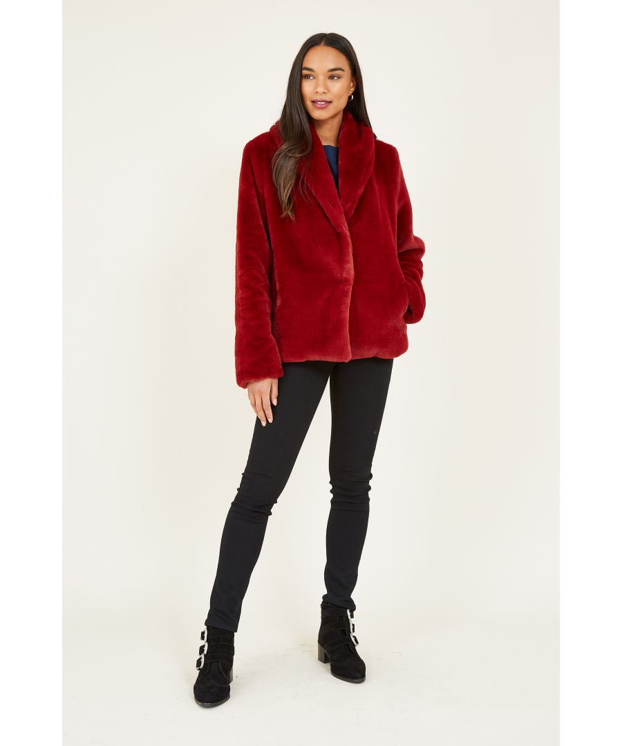 Image for YUMI Red Short Wrap Faux Fur Coat