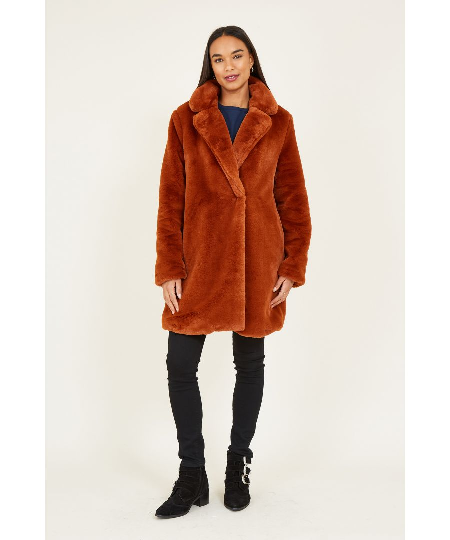 Image for YUMI Brown Faux Fur Coat