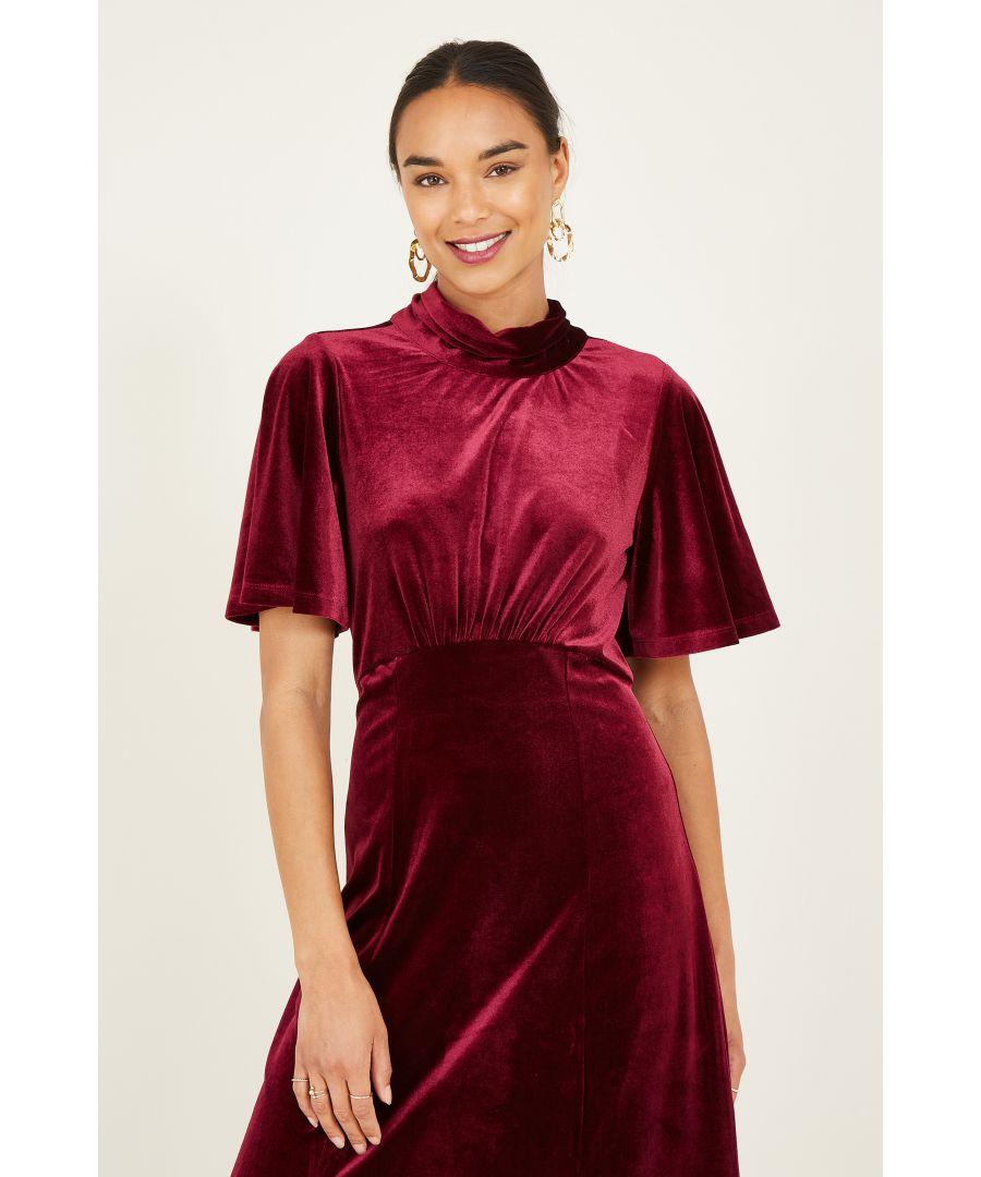 Image for Yumi Fuchsia Velvet Midi Dresss With Back Tie