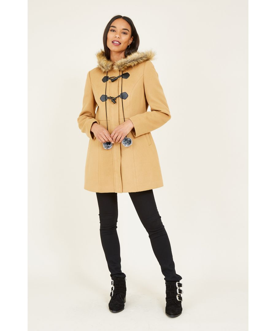 Image for YUMI Camel Duffle Coat With Fur Trim And Pom-Pom