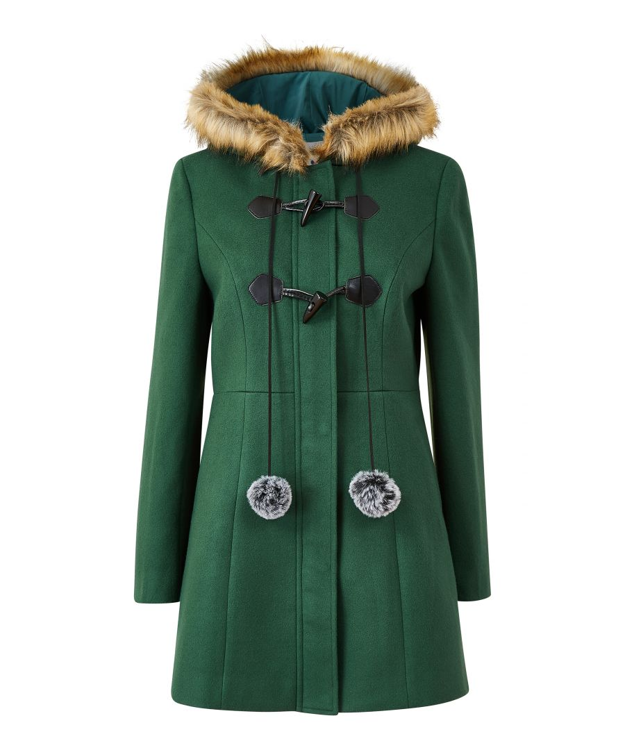 Image for YUMI Green Duffle Coat With Fur Trim And Pom-Pom