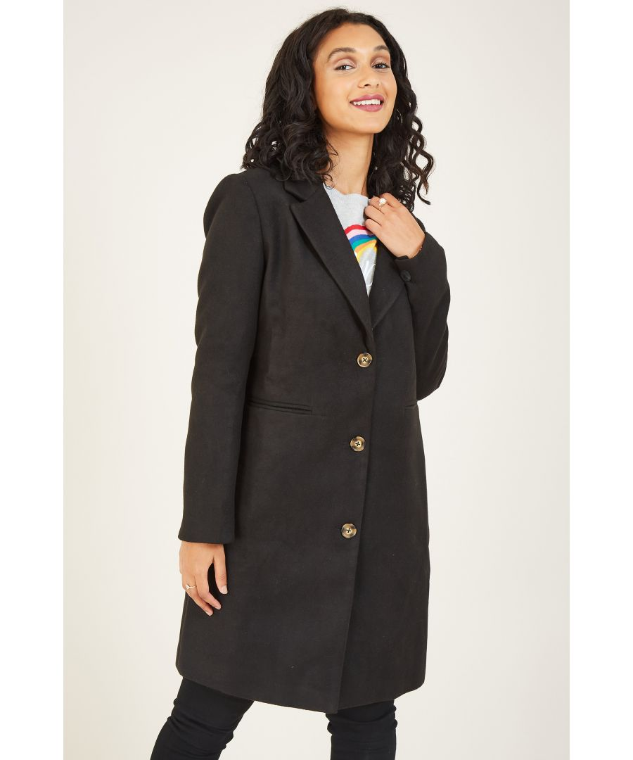 Image for Yumi Black Crombie Coat With Heart Lining