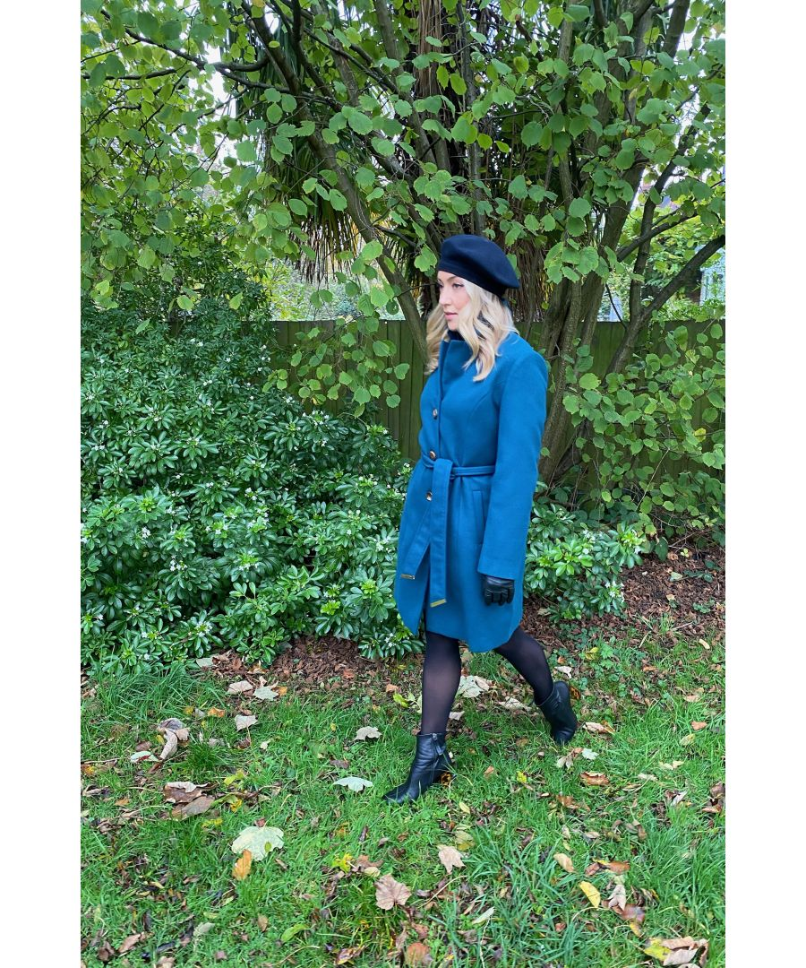 Image for Yumi Teal Belted Coat With Spot Lining