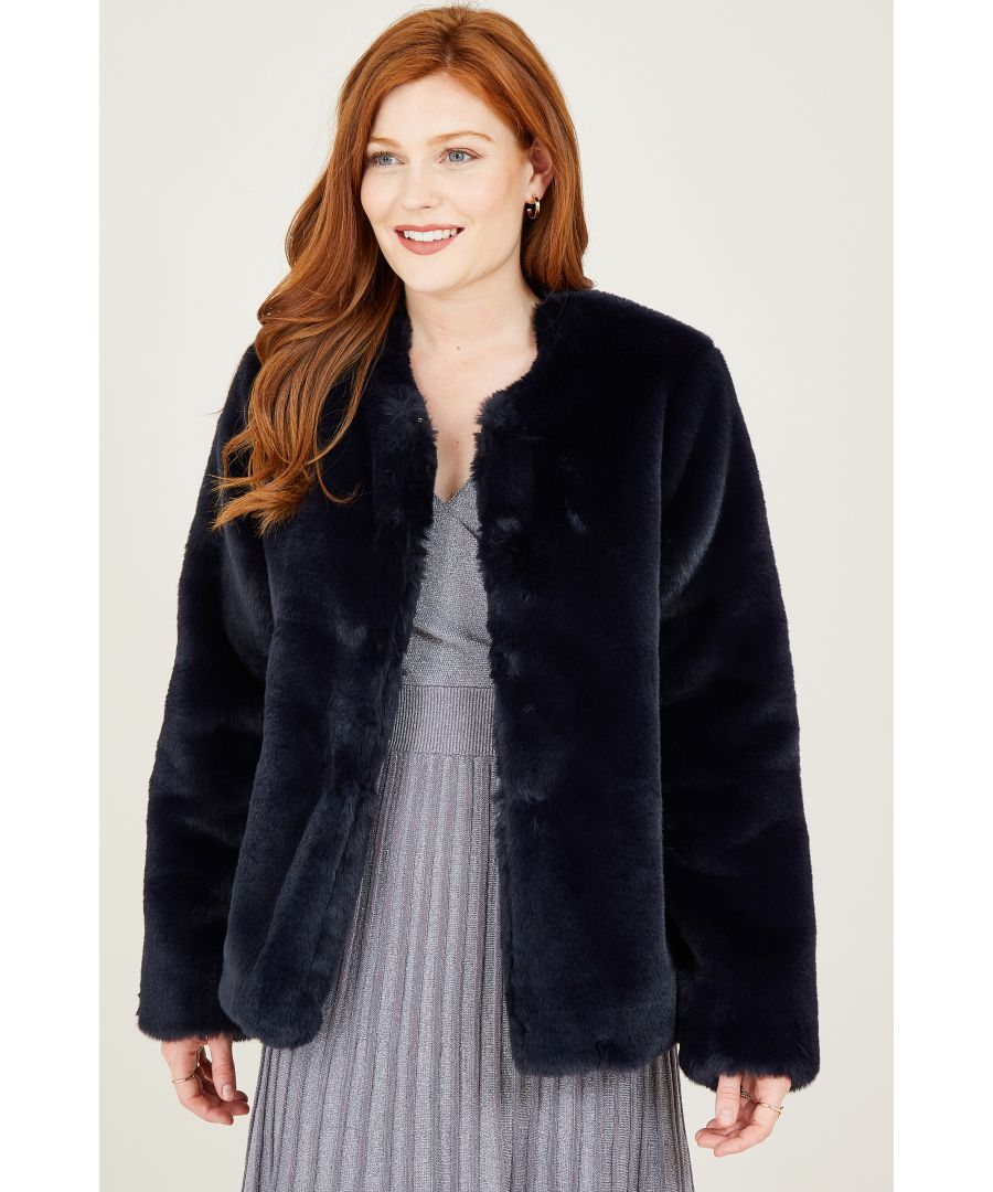 Image for Yumi Navy Long Haired Faux Fur Coat