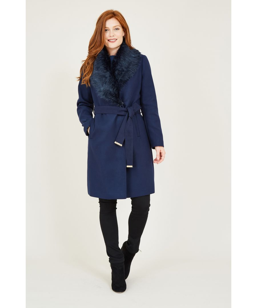 Image for YUMI Navy Fur Wrap Coat With Heart Lining