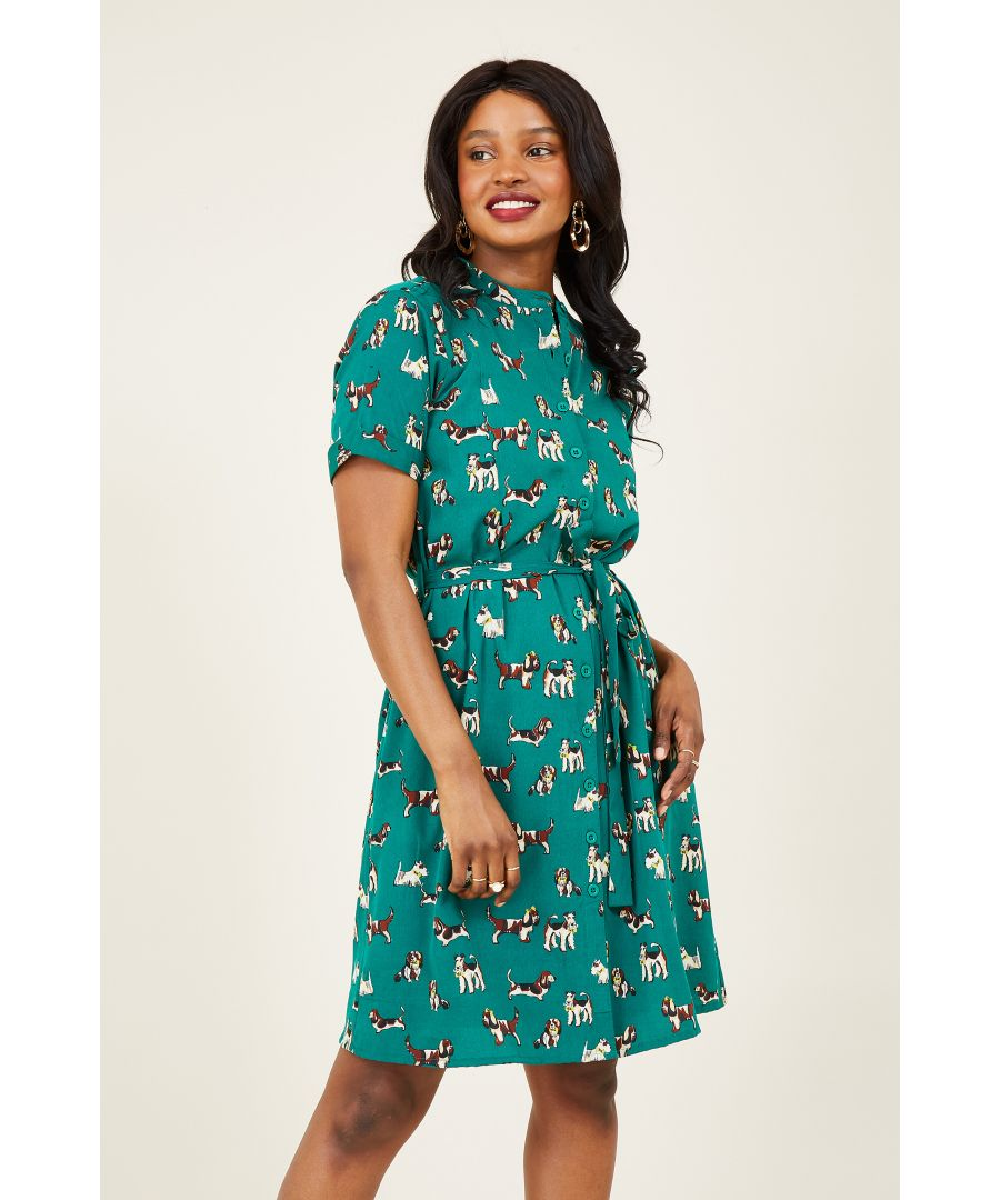 Image for Green Cute Dog Print Shirt Dress