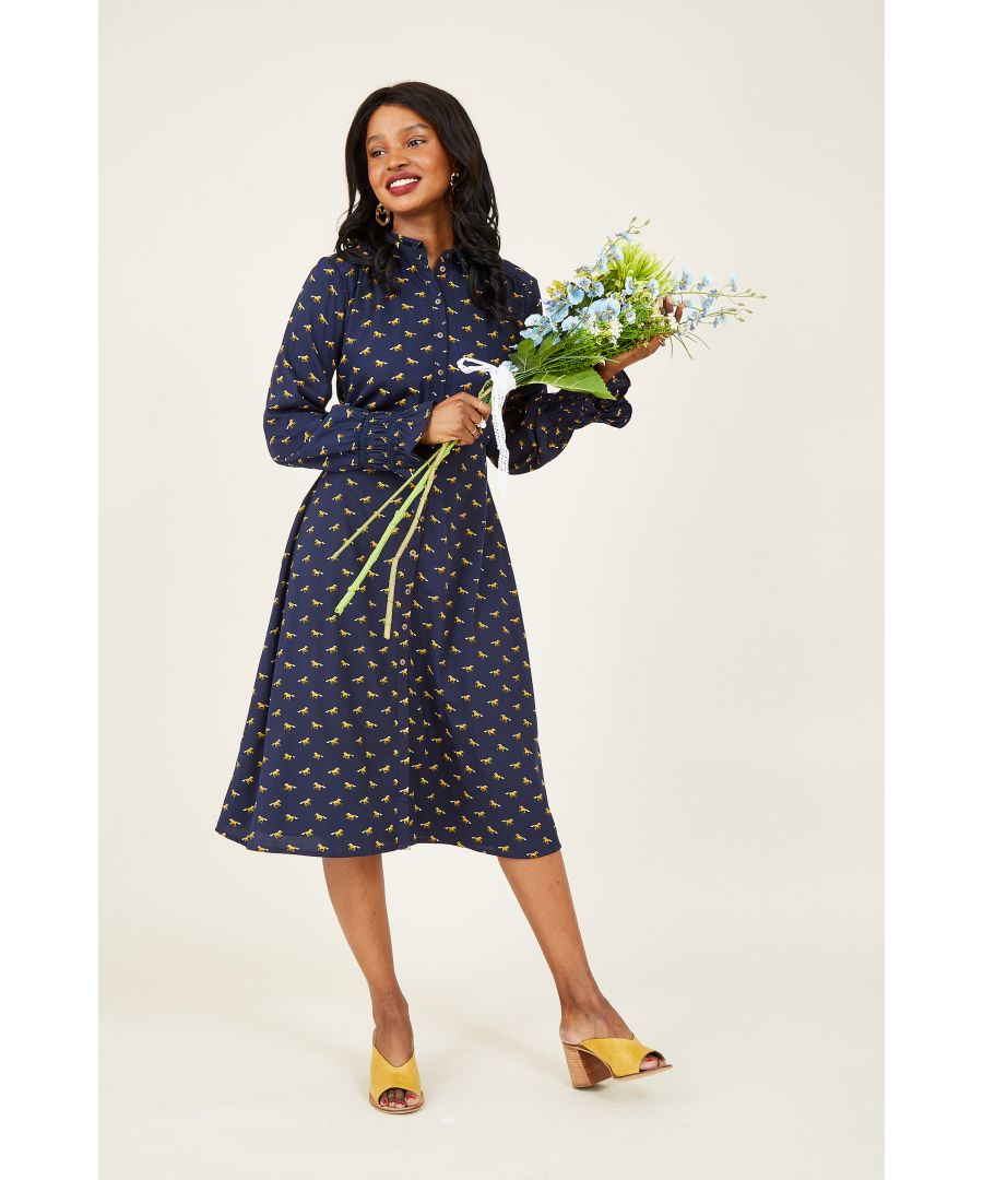 Image for Navy Horse Print Shirt Dress