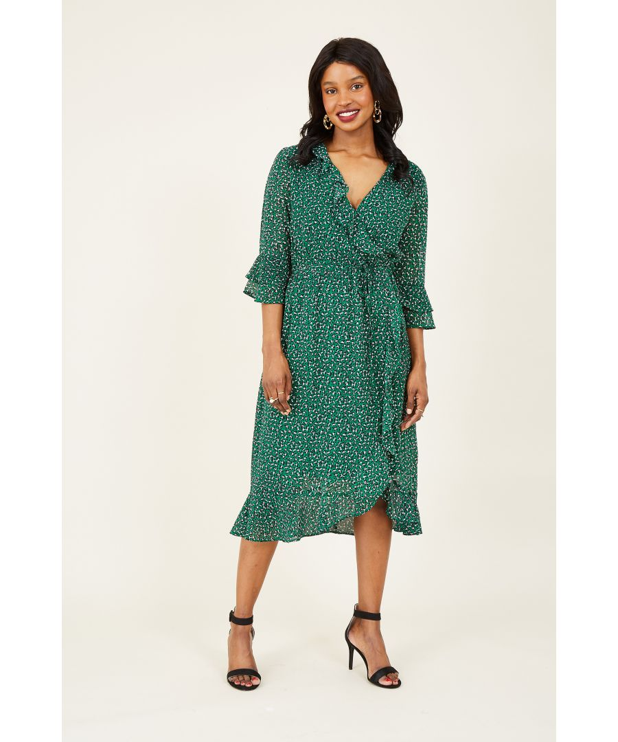 Image for Green Leopard Print Wrap Frill Dress