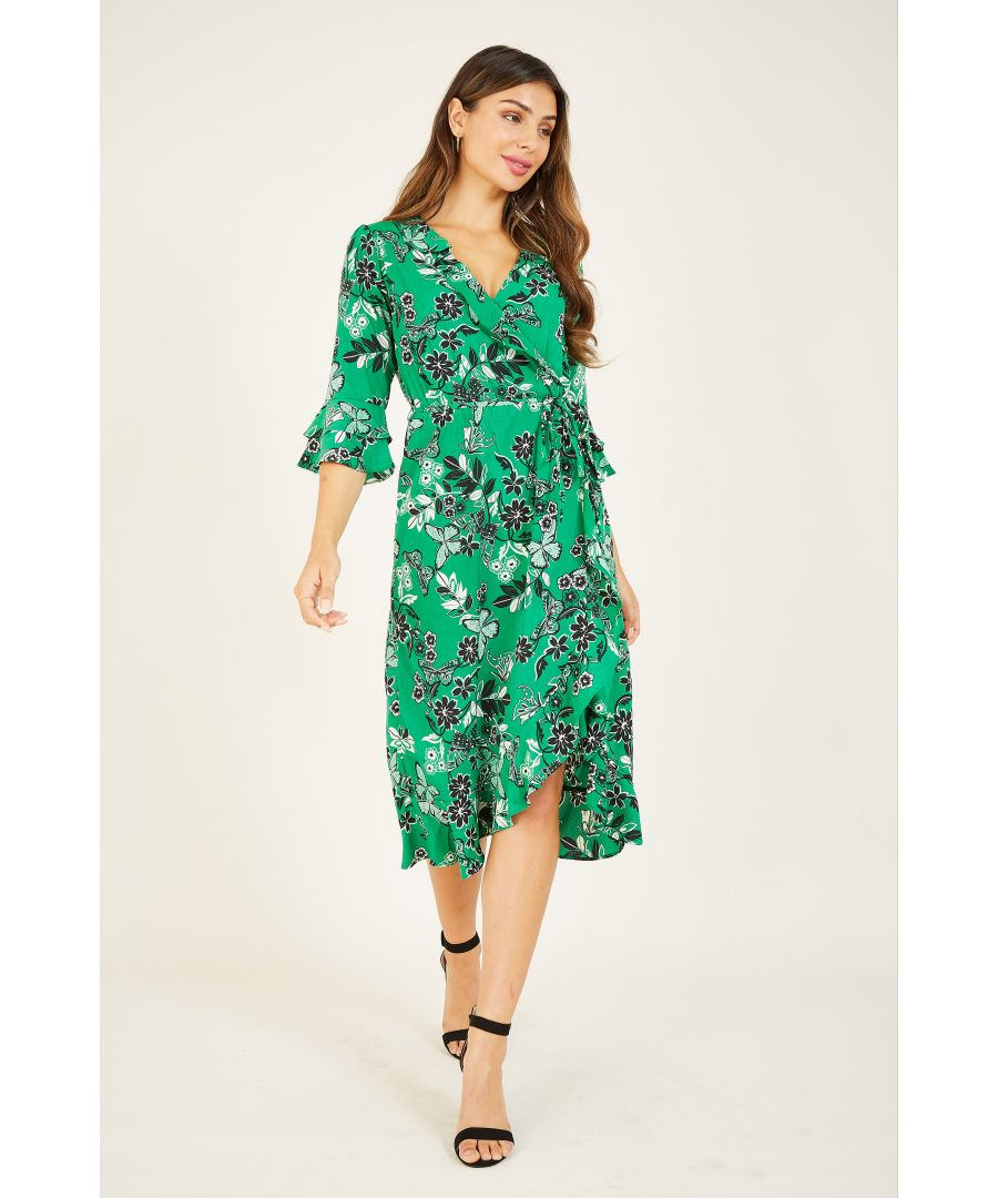 Image for YUMI Green Butterfly Print Wrap Dress With Frill