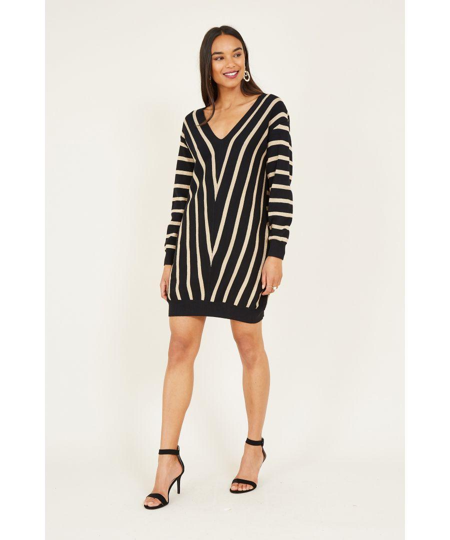 Image for Yumi Black And Gold Lurex Chevron Stripe Tunic