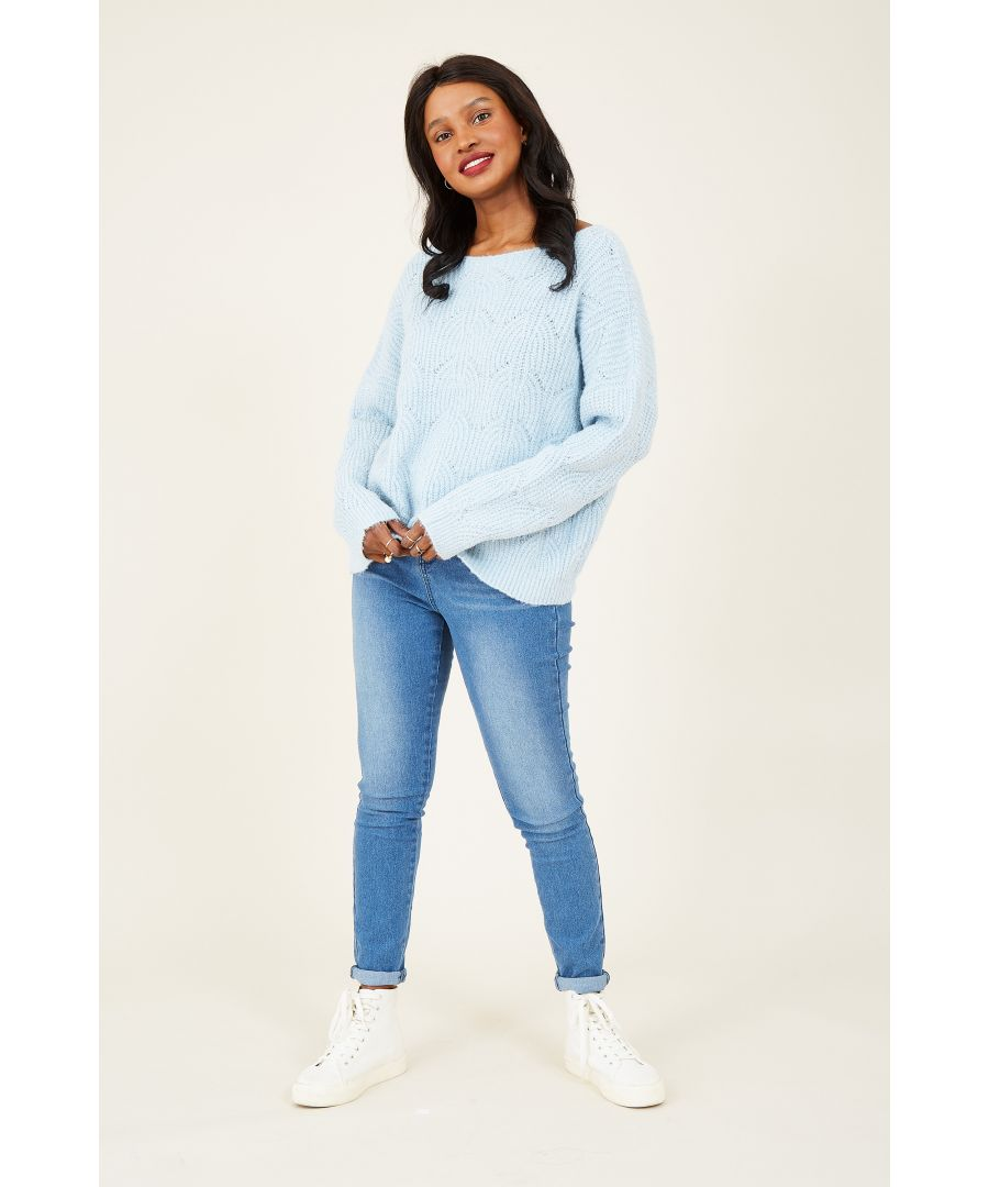 Image for Yumi Blue Lace Stitch Jumper With Sequin Detail