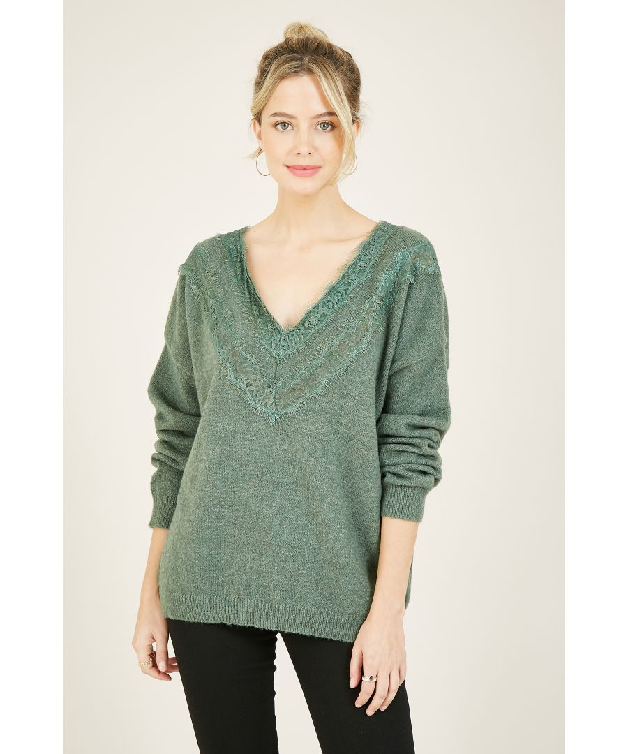 Image for Yumi Green Lace Trim V Neck Jumper