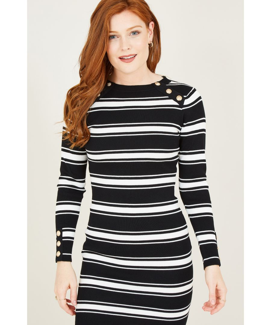Image for Yumi Black Stripe Knitted Dresss