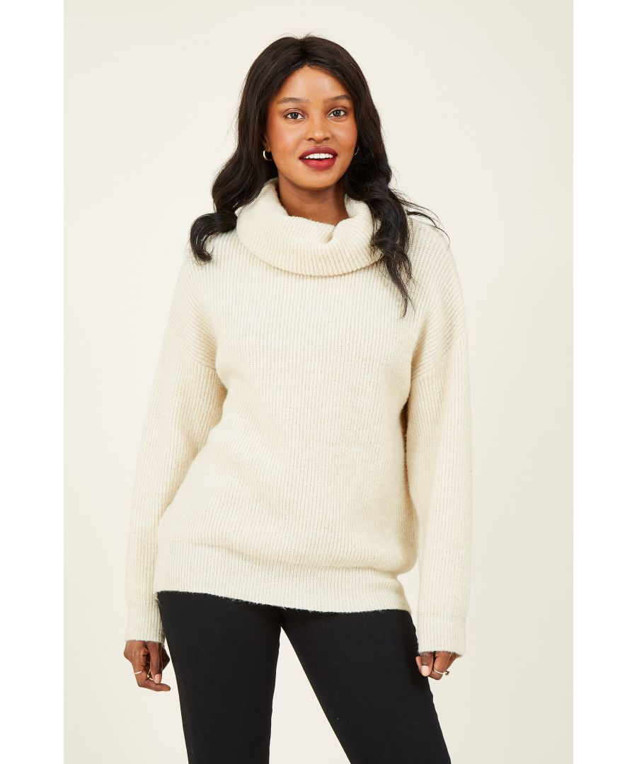 Image for YUMI Beige Knitted Roll Neck Relaxed Jumper
