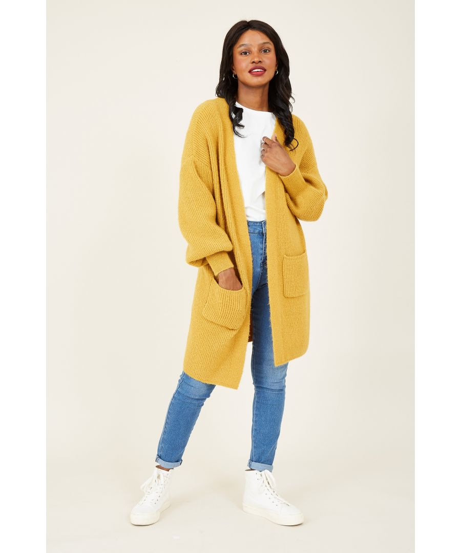 Image for Yumi Mustard Knitted Long Cardigan With Pocket