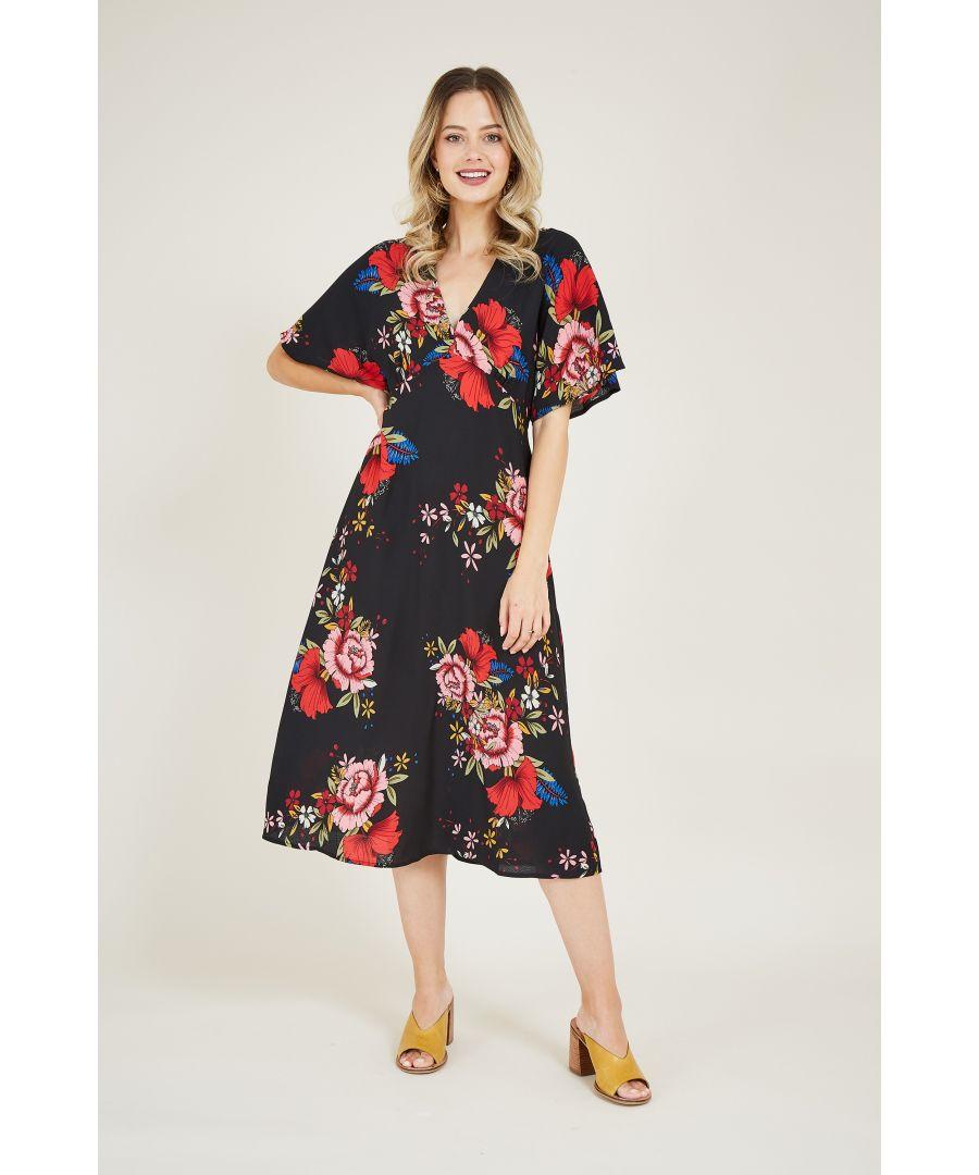 Image for Yumi Black Japanese Blossom Kimono Dress