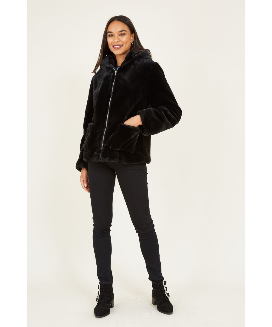 Image for Yumi Black Zip Faux Fur Coat With Hood