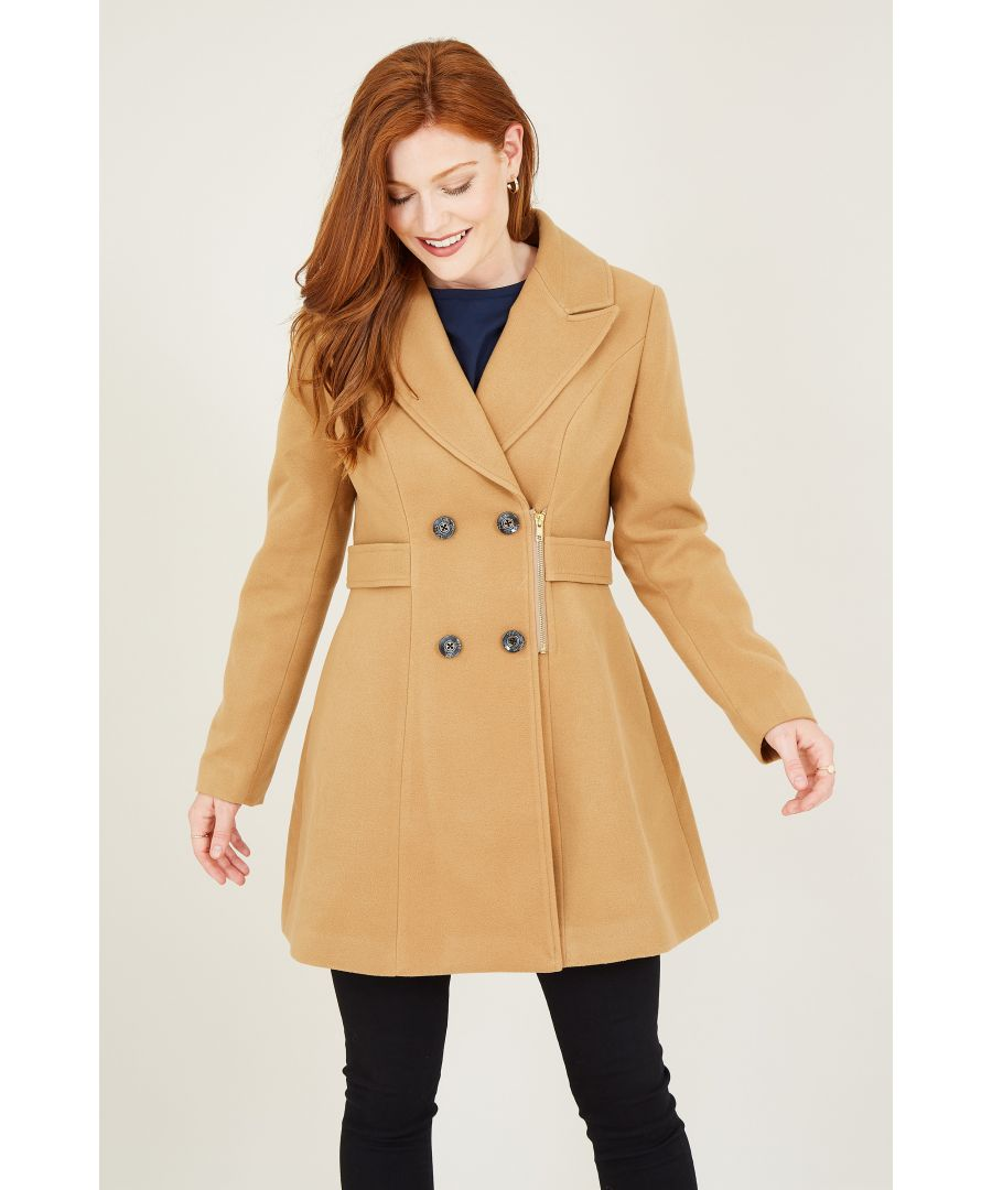 Image for Yumi Camel Military Coat With Zip Detail
