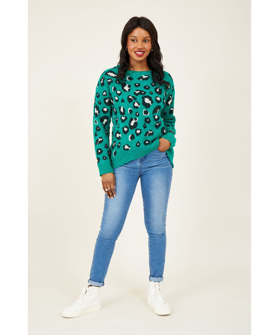 Image for Yumi Green Leopard Knitted Relaxed Jumper
