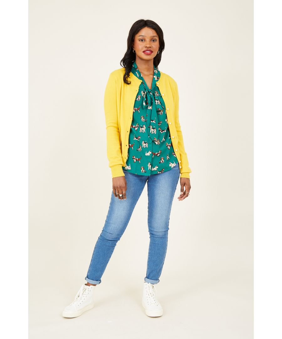 Image for Yumi Mustard  Knitted Cardigan With Pearl Button