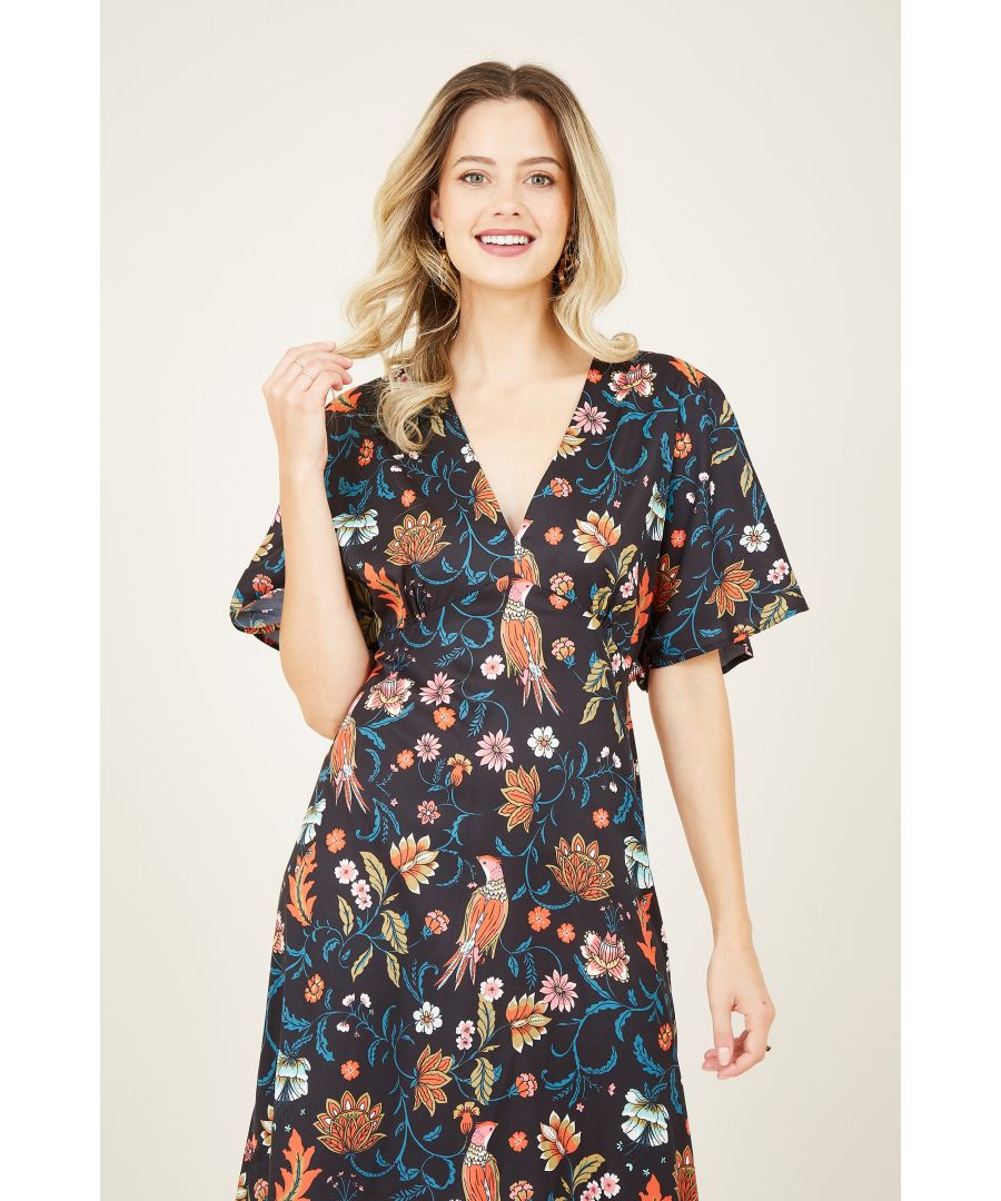 Image for Yumi Black Peacock Print Kimono Dresss