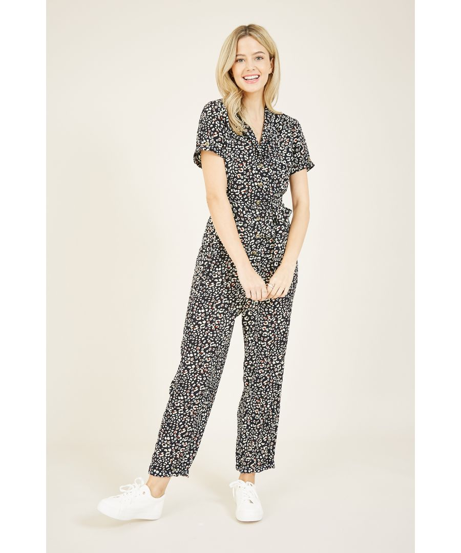 Image for Yumi Navy Animal Print Jumpsuit