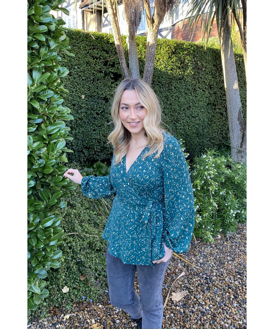 Image for Yumi Green Foil Print Wrap Top