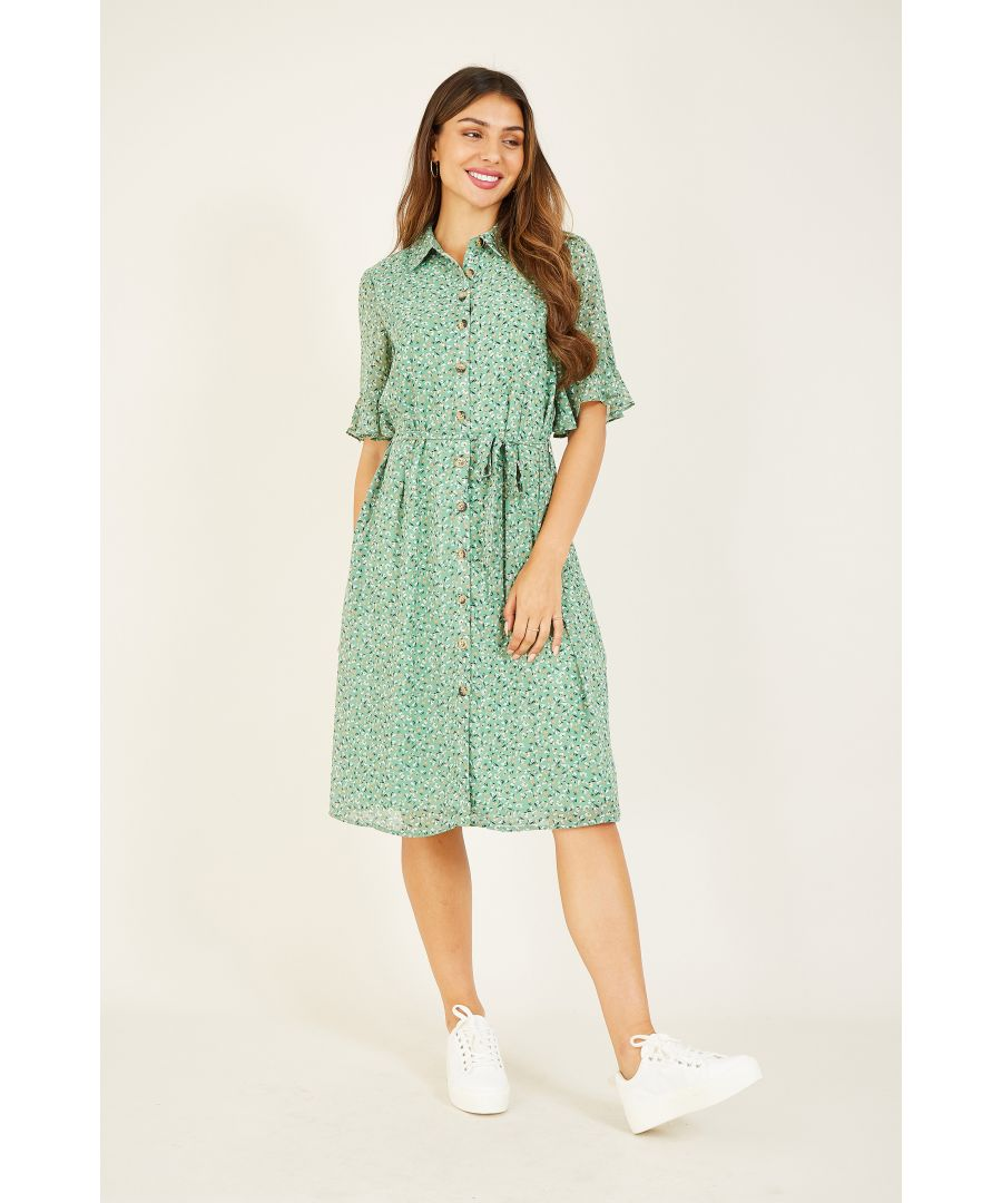 Image for YUMI Green Ditsy Print Frill Sleeve Shirt Dre