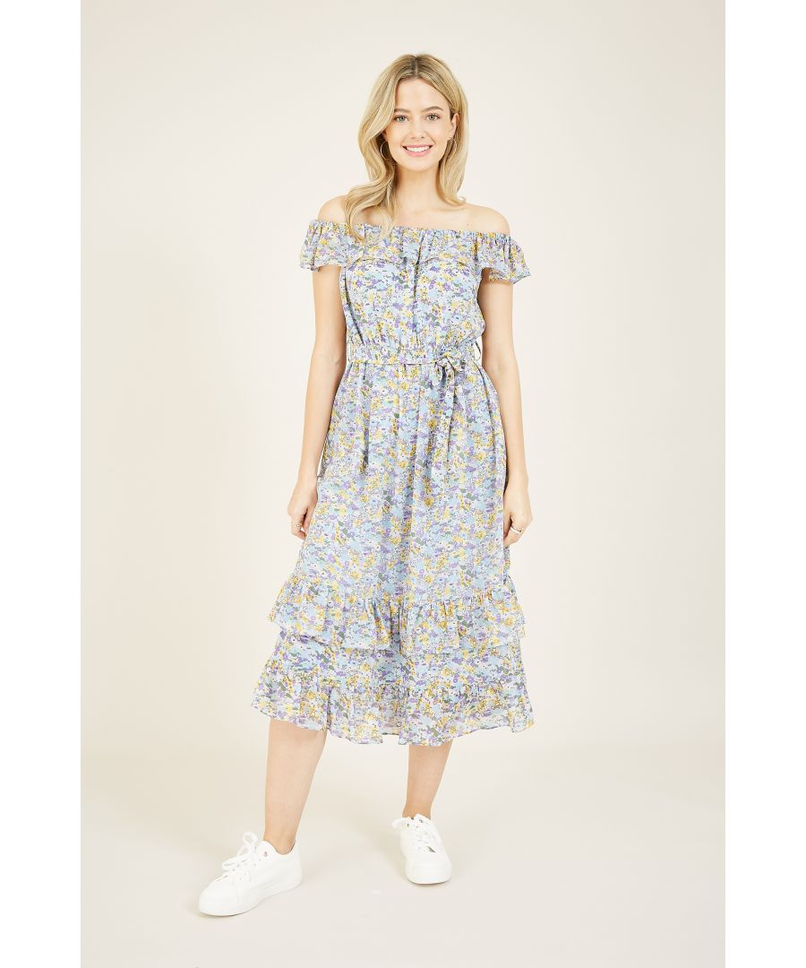 Image for Yumi Ditsy Floral Bardot Dress